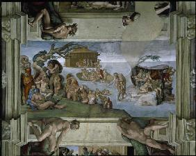 Ceiling fresco in the Sistine chapel Rome: The Flood.