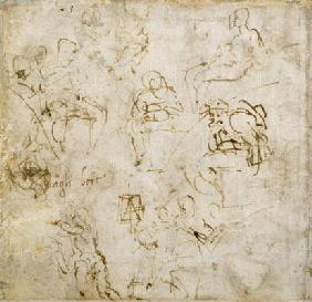 Figure study with writing, c.1511 (pen & ink on paper)