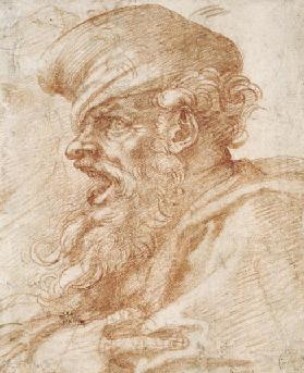 Head of a Bearded Man Shouting