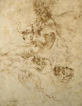 Study of a seated young Man, with head studies, c.1502 (pen & ink on paper)