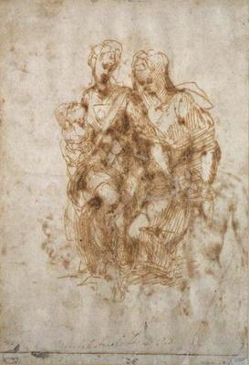 Study of St. Anne, after Leonardo Da Vinci's 'Anne', c.1502 (pen & ink on paper)