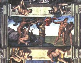 Sistine Chapel Ceiling: The Fall of Man and the Expulsion from the Garden of Eden, with four Ignudi