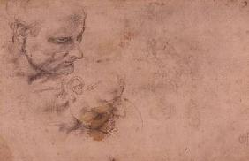 W.60 Sketch of a male head, in two positions cil on