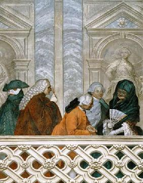 Group of five people with a woman in a black veil