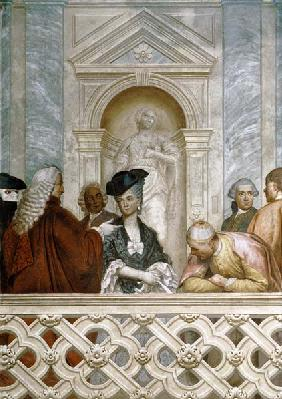 Group of seven notaries including one ecclesiastical figure