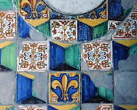 Detail of floor tiles from the cellar of the Villa Medicea de Careggi (ceramic)