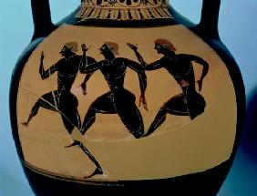 A foot-race, detail from an Attic black-figure amphora, c.520-500 BC (pottery) (for reverse see also