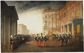 Parade in front of the Anichkov Palace on 26 February 1870