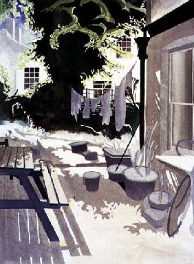 Back-Garden Washing Line, 1992 (w/c on paper)