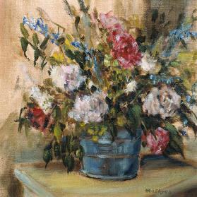 Flowers in a bucket (oil on canvas)