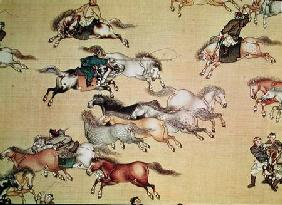 Voyage of Emperor Qianlong (1736-96) detail from a scroll, Qing Dynasty