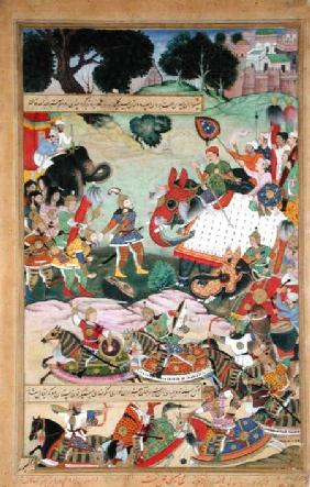 Akbar receiving the drums and standards captured from Abdullah Uzbeg, Governor of Malwa, in 1564