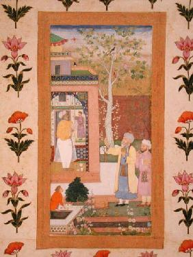 An artist decorating the interior of a garden pavilion, from the Small Clive Album