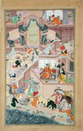 Emperor Akbar (r.1556-1605) inspecting the building work at Fatepur Sikri, from the 'Akbarnama' made