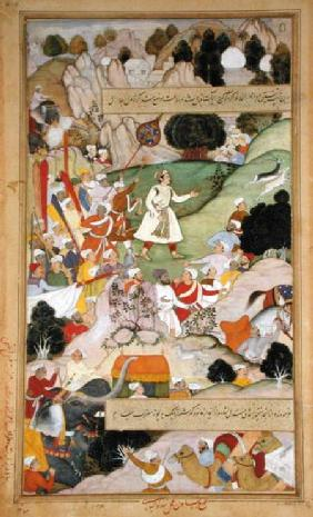 Emperor Akbar's pilgrimage to Ajmir to give thanks for the birth of Prince Mirza Salim in 1569, from