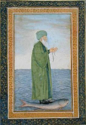 Khawa Khizir Khan riding on a fish, from the Small Clive Album