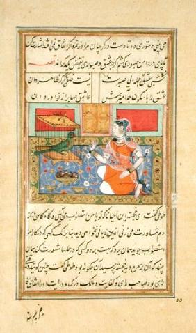 Kjujista, the Merchant's Wife, talking to a Parrot, Calligraphy & illustration from the 'Tuti'nama',