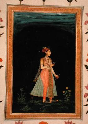 Lady holding a wine flask and glass at night, from the Small Clive Album