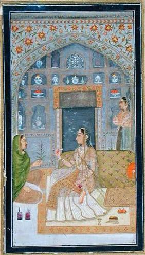 Lady seated in a Pavilion with attendants, from the Small Clive Album