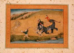 Three men lion hunting, from the Large Clive Album