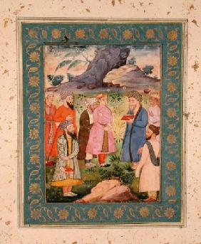 A noble youth with attendants in a landscape, from the Large Clive Album