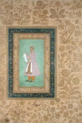 Portrait of Murtaza Khan holding a scroll