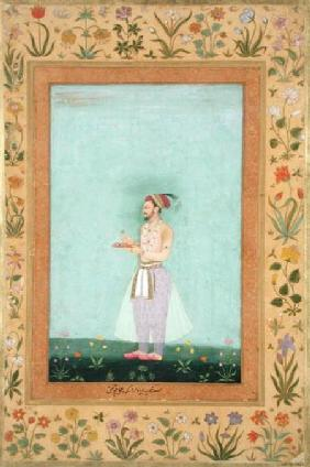 Prince Dara Shikuh holding a tray of jewels, from the Minto Album