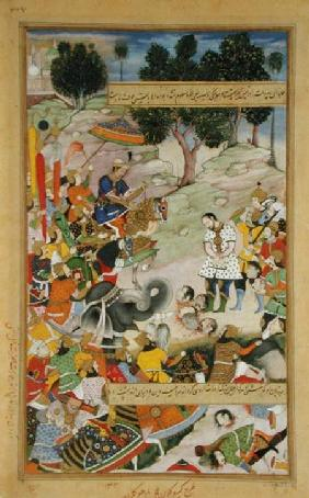 The rebel Bahadur Khan (d.1601) as a prisoner in the presence of Akbar (r.1556-1605) in 1567, from t