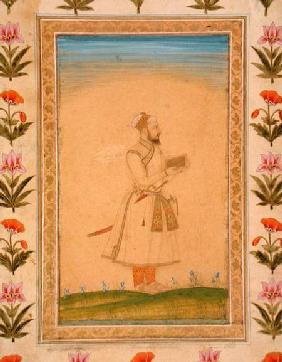 Standing figure of a nobleman, holding a book, from the Small Clive Album