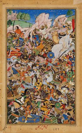 Battle of Bundi, from the Akbarnama