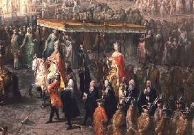 The coronation procession of Joseph II (1741-90) Emperor of Germany, in Romerberg