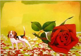 The Rose and the Dog, 2004 (oil on canvas)