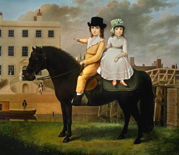 Two Children Seated On A Black Pony