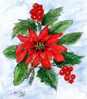 Poinsettia and Holly