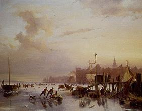 Wintry riverside with ice-skaters