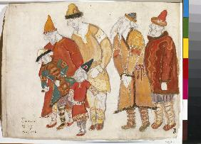 Peoples. Costume design for the opera Prince Igor by A. Borodin