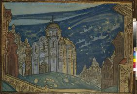 Putivl. Stage design for the opera Prince Igor by A. Borodin
