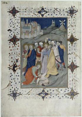 MS 11060-11061 Hours of the Cross: Matin and Laudes, The Betrayal by Judas, French, by Jacquemart de