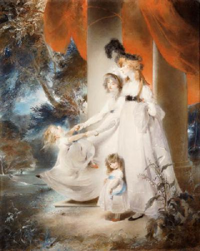 Portrait Of Mrs Ayscoghe  Boucherett With Her Two Eldest Children, Emilia And Ayscoghe, And Her Half