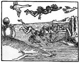 A.Dürer / The Fall of Icarus / Wood cut