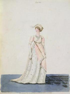 Afternoon dress, fig. 303 from Nikolaus Heideloff's 'Gallery of Fashion', Vol II, June 1801 (aquatin