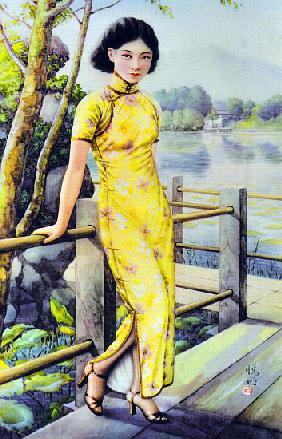 China: Chinese calendar girl of the 1930s wearing a qipao or cheongsam