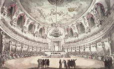 Concert Hall in Venice, 18th century (coloured engraving)