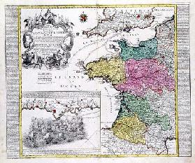 German Map showing English naval attacks on French ports in 1758