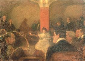 Concert of the harpsichordist Wanda Alexandra Landowska (1879-1959)