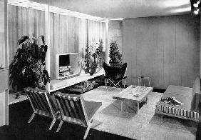 Living-dining room designed by Florence Knoll, page 77 from the catalogue for 'An Exhibition for Mod