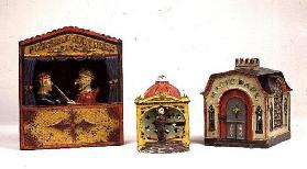 Mechanical cast-iron money banks: Punch and Judy (patent safe mark July 1884, Buffalo, New York), Li
