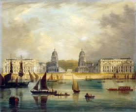 A View Of Greenwich,  From The River, With Commissioned Barges, A Collier Brig, Astumpy Barge And Ot