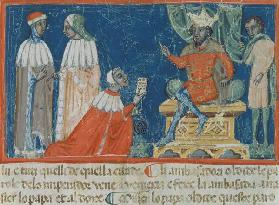 Codex Correr I 383 Emperor Frederick Barbarossa (c.1123-90) receiving the Venetian ambassadors, Vene