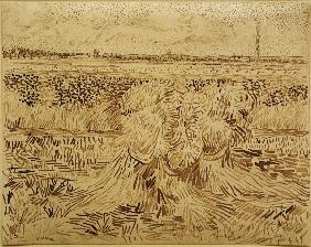 V.v.Gogh, Wheat Field w.Sheaves / Draw.
